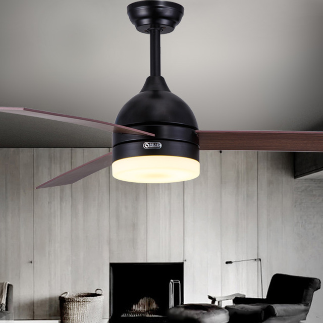 Black And White Leaf Fan Lights 48 Inch Dining Room Ceiling Lamp Remote Control LED