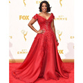 Niecy Nash Glarmous Lace Red Celebrity Dresses Mangas Curtas Vermelho Vestidos no tapete 67ª Emmy Awards Sexy V Neck Organza vestido de Festa vestido