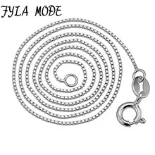 Fyla Mode  Real 925 Sterling Silver Slim Box Chain Necklace Womens Mens Kids 16/18/20/22/24/26 Inch Jewelry kolye collares
