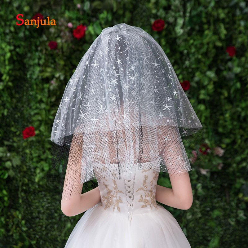 Short Layers Wedding Veil With Sliver Sea Stars Black Hard Tulle Cut Edge Bridal Veil Women Party Face Veil Casamento V98