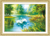 New 3D Diamond Painting Cross Stitch Pattern 5D Diamond Embroidery Swan Lake Diamond Mosaic Resin Home