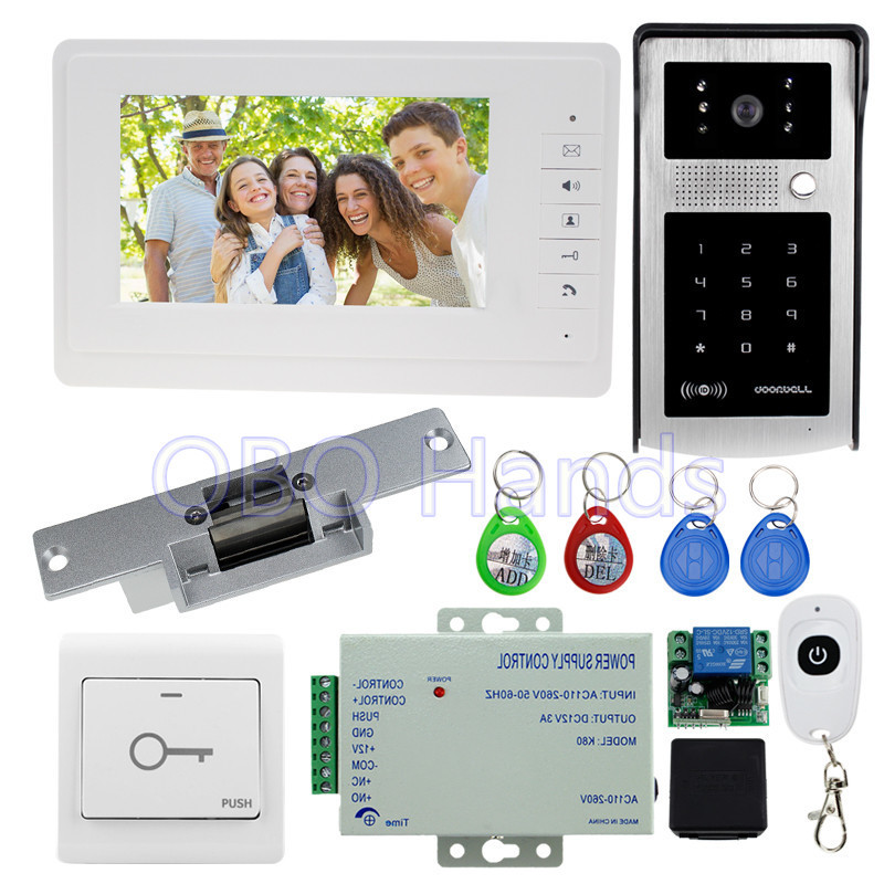 7'' wired color video door phone intercom system kit set with IR doorbell camera RFID access control keypad+EM lock with remote dhl free 7 lcd 1 v 3 video door phone intercom bells doorbell with ir camera rfid keyfobs code keypad remote control