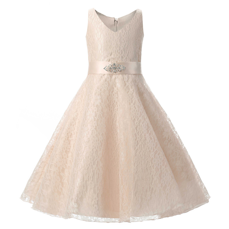 Elegant Toddler kids Princess Wedding Formal dress with Flower Embroidery  Ribbons Bow Belt Crochet Vest dresses for Girl clothes-in Dresses from  Mother ... 8360e5ca25b0