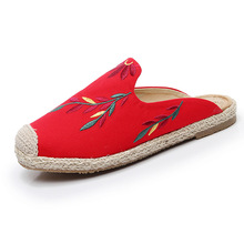 New embroidered leaf half slippers women beach shoes hemp rope straw-woven fisherman shoes, flat-soled Muller mules