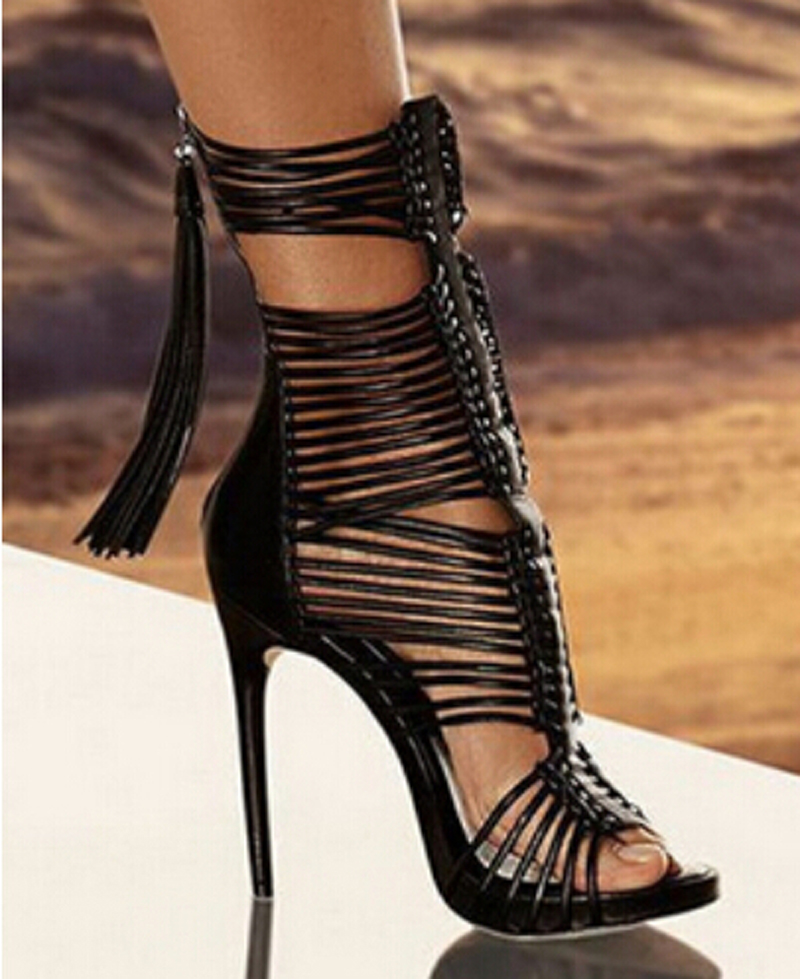 Hot Sale Women Fashion Open Toe Straps Ankle Wrap Gladiator Boots Black White High Heel Cut-out Tassels Boots Dress Shoes graceful low cut wrap high slit print pure color maxi dress