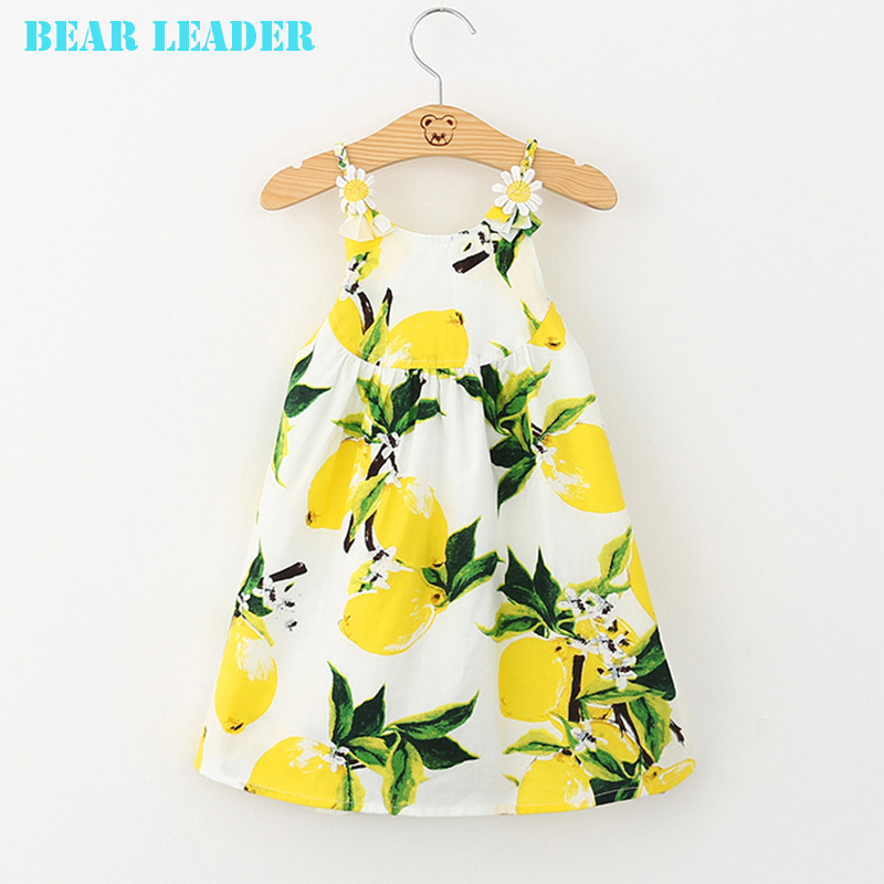 Подробнее о Bear Leader Girl Dress Sleeveless 2016 Brand Princess Dress Girls Clothes Yellow Fruit Pattern Kids Dresses for Girls Costumes bear leader girl dresses 2016 brand girls costumes princess dress kids clothes sleeveless bow plaid pattern girls dress children