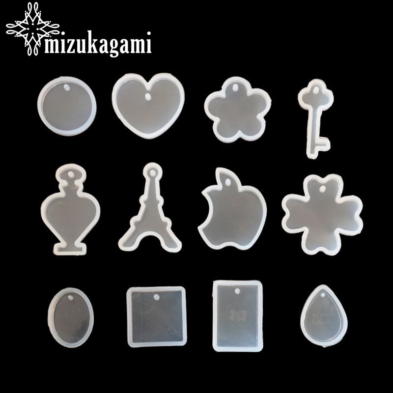 12pcs/lot UV Resin Jewelry Liquid Silicone Mold Flowers Key Heart Water Drop Resin Molds For DIY Necklace Charms Making Jewelry