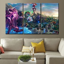 3 Panel Modular Picture League Of Legends Map Landscape Lulu And Tristana Veigar On Canvas Print Type The Wall Decor