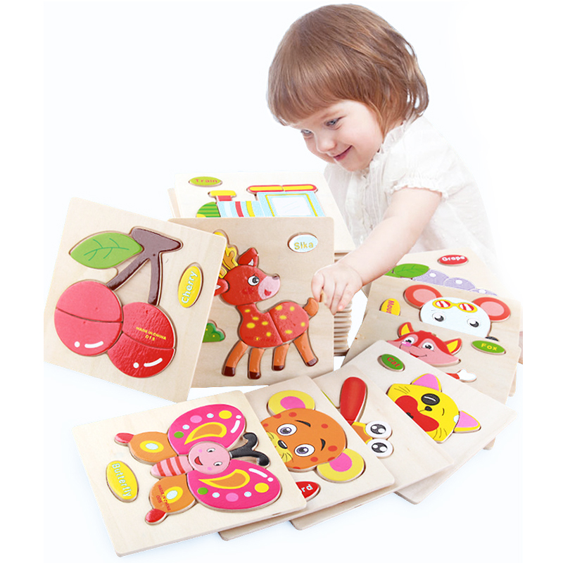 1pcs colorful Kid Wooden Animals Cartoon Picture Puzzle Kids Baby Educational Toys train children newborn early development magnetic wooden puzzle toys for children educational wooden toys cartoon animals puzzles table kids games juguetes educativos