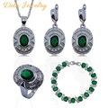 Melhor Venda Verde Zircon 925 Sterling Silver Conjunto de Jóias Mulheres Pulseira/Brincos/Pingente/Colar/Anel Livre presente A14
