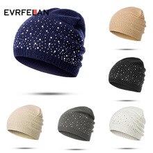 Evrfelan осенне-зимние шапки бини женские мягкие вязаные шапки бини Женская мода стразы хлопковая шапка Кепка