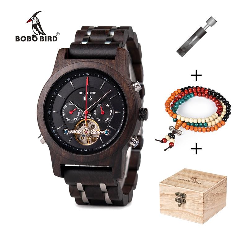 Men Watch Mechanical-Watches Chronograph Bobo Bird Quartz Luxury Relogio in Wood Stylish