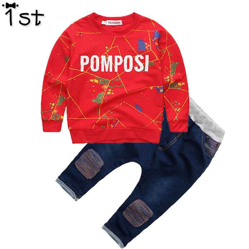 1eb07b667 1st 2018 brand new Boys clothing set kids sports suit children tracksuit  long shirt pants Cowboy