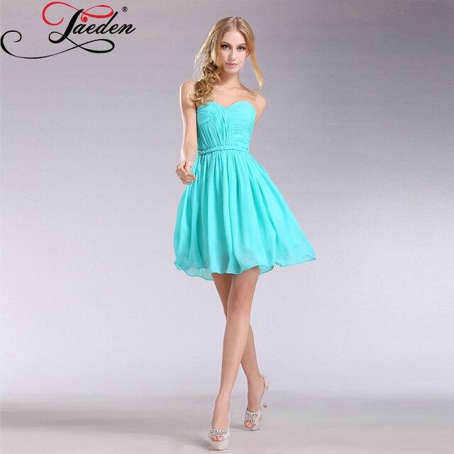 d61b03e00 Jaeden impresionante azul turquesa vestidos de coctel del cuello del amor  gasa plisados sobre la rodilla