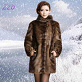 New 2017 Europe style women's outerwear plus size clothing Imitation mink fur top long design marten overcoat leather fur coat
