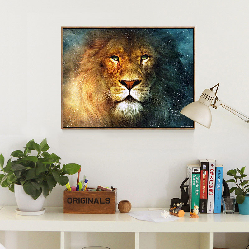 Meian,40x50cm DIY Lion Animal Embroidery,Full Painting Needlework,Cross stitch,kits,14CT Cross-stitch,Sets For Embroidery,VS-49