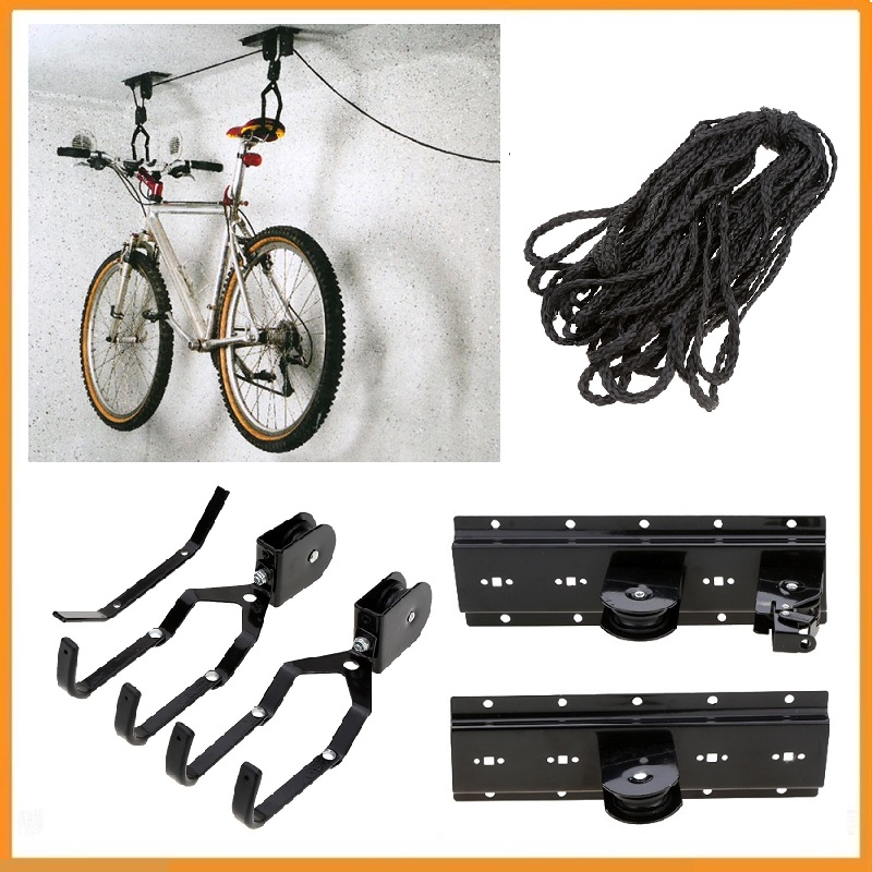 Bicycle Lift Bike Ceiling Mount Pulley Hoist Rack Garage Storage Hooks Hanger US
