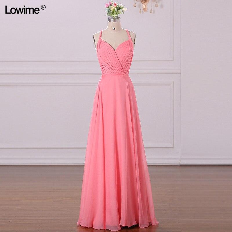 A Line Simple Wedding Dresses: Simple Design Pink Beach Bridesmaid Dresses A Line Chiffon