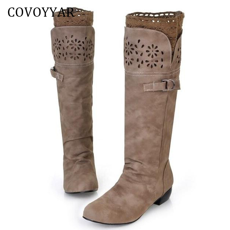 COVOYYAR Winter Boots 2019 Autumn Low Heel Knee High Boots Women Cut Out Flower Buckle Women Shoes Big Sizes 34 43 WBS399