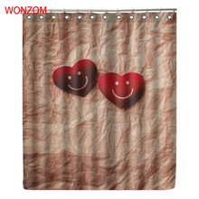 WONZOM Heart And Smile Curtains with 12 Hooks For Bathroom Decor Modern Bath Waterproof Curtain Polyester Accessories