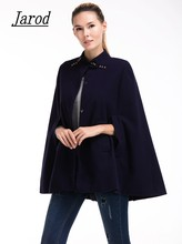 2017 new Autumn Women casual O-neck Single Breasted Batwing Sleeve Slim solid Cape Coat Poncho Cloak(China)