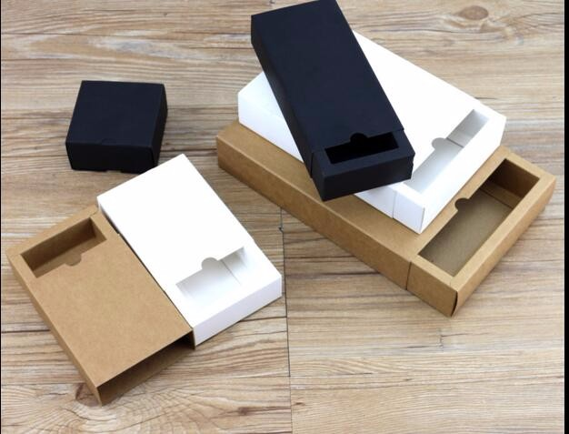 10pcs Black Kraft Gift Packaging Cardboard Box Black Packing Gift Box White Paper Drawer Box Wedding Favor Delicate Drawer Box