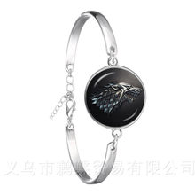 Silver Plated Bracelets Game Of Thrones Glass Cabochon Chain Bangle Stark Wolf House Infinite Head Jewelry Best Gifts(China)