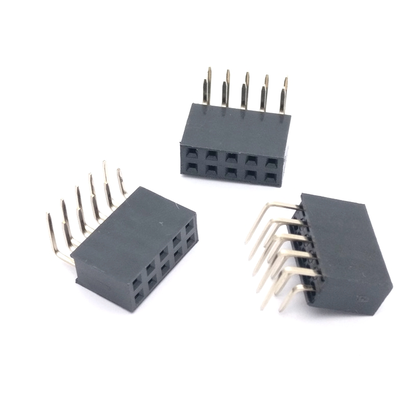 Integrated Circuits 100pcs Rohs 2.54mm 2*6 R 2.54 2x6 Female Double 90 Degree Bending Cab Looper Right Angle Connector