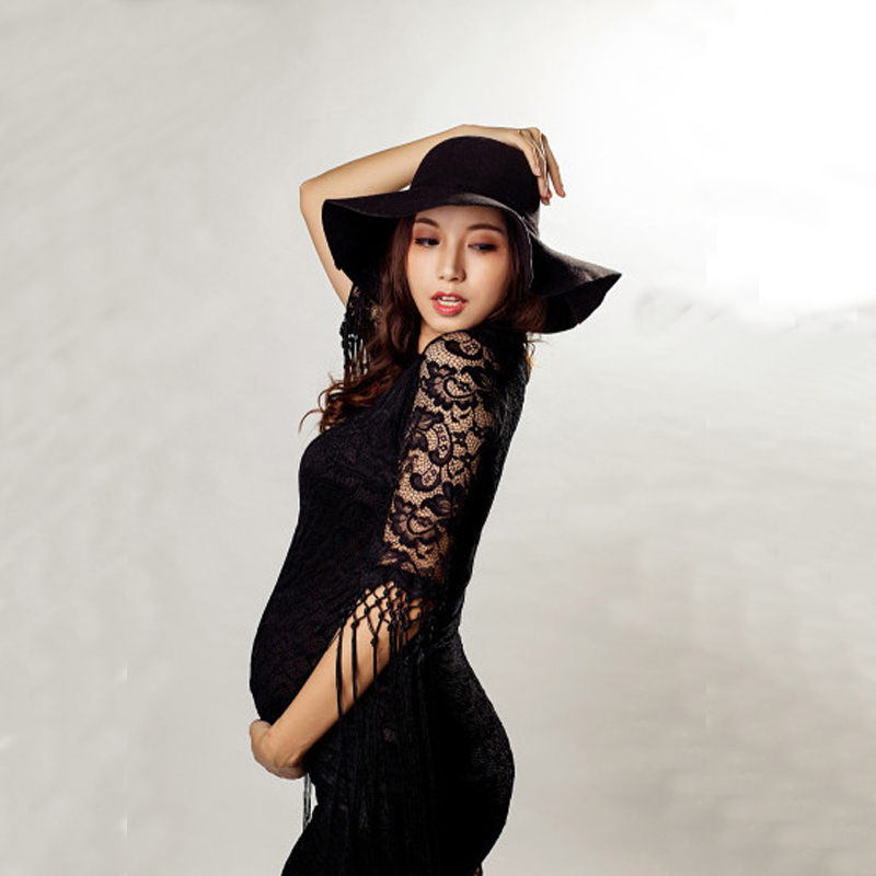 Fancy Maternity Gown Summer Photography Black Lace Dresses Props Pregnant Women Pregnancy Photo Shoot Props Lace Dress Clothes envsoll pregnant women photography props long lace dresses fancy maternity photo shoot long sleeve v neck black dress clothes