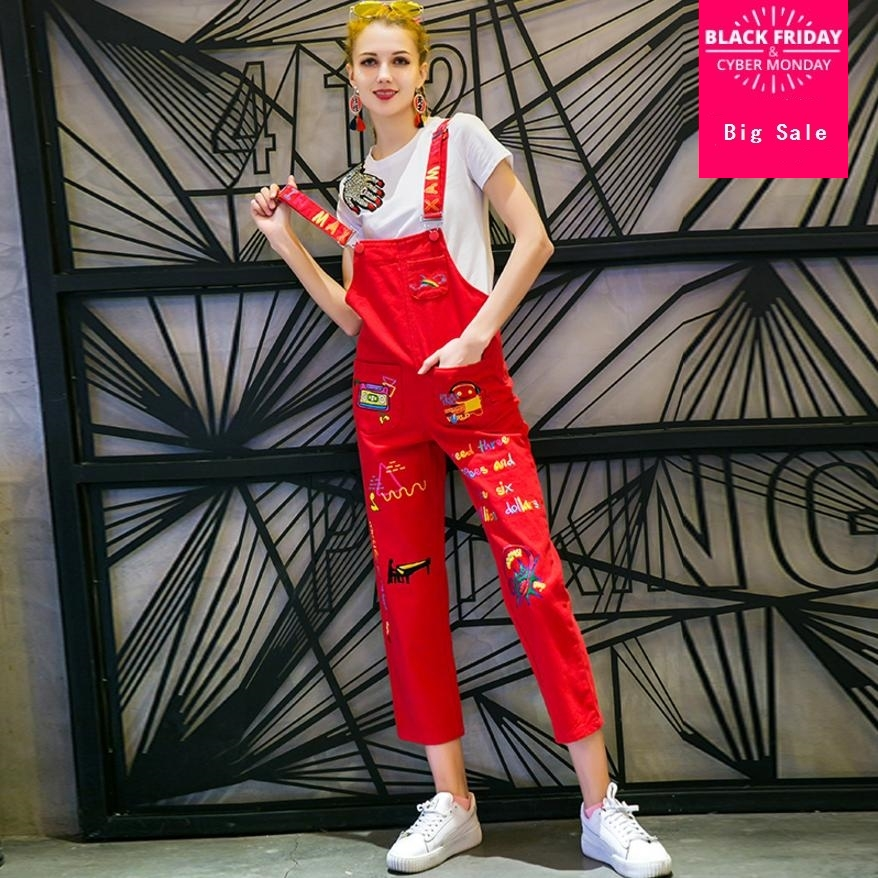 2018 Spring Autumn Fashion New Women's Cartoon Embroidery Denim Jumpsuits Female Casual Jean Suspender Overalls Bodysuits L949