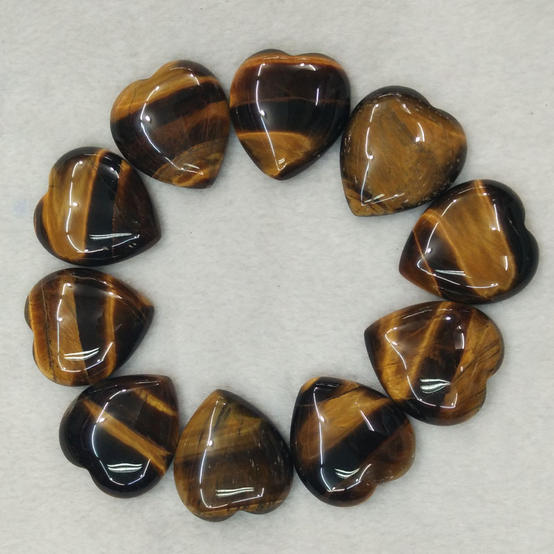 2016 new good quality natural tiger eye stone heart shape cab cabochons beads for jewelry making 25mm wholesale 10pcs/lot free