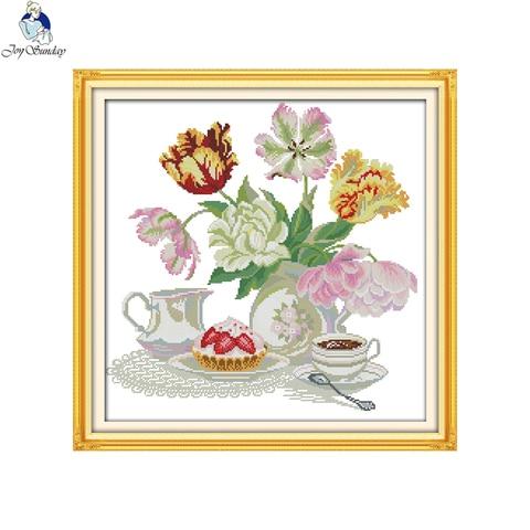 Joy Sunday Cross Stitch kits Afternoon Tea Series DMC 14CT 11CT Cotton Fabric Hotel Home Decor Painting NKF Factory Wholesale Multan