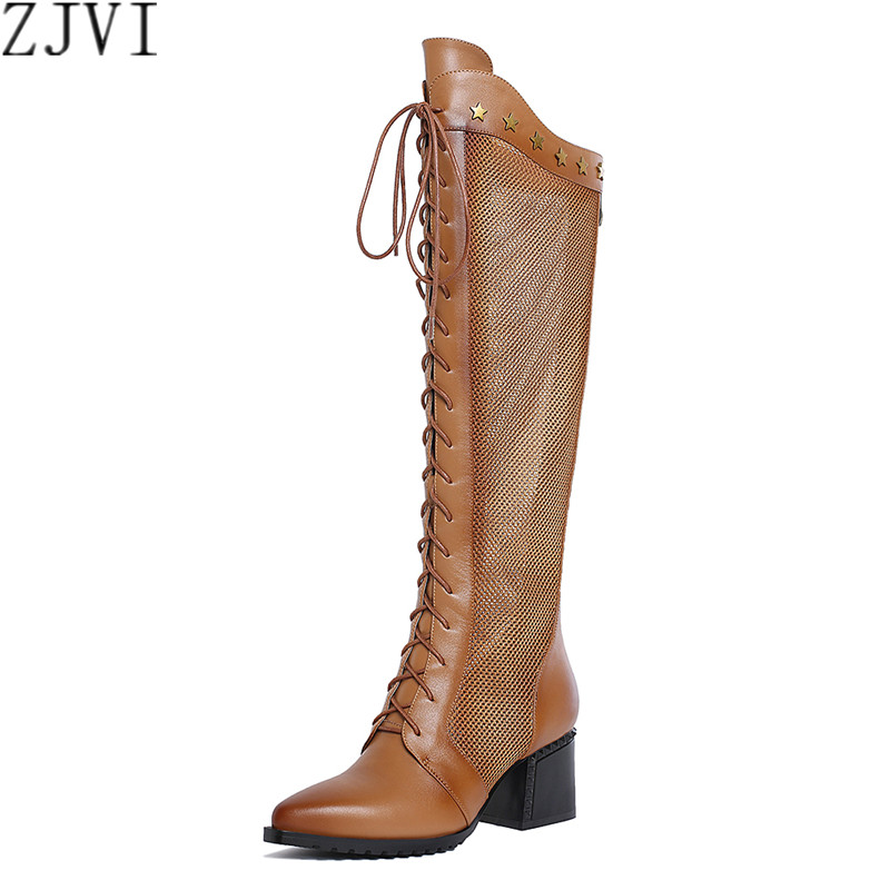 ФОТО ZJVI Genuine leather Women sandals womens summer boots knee thigh high sandals shoes Ladies fashion cut outs pinted toe boots