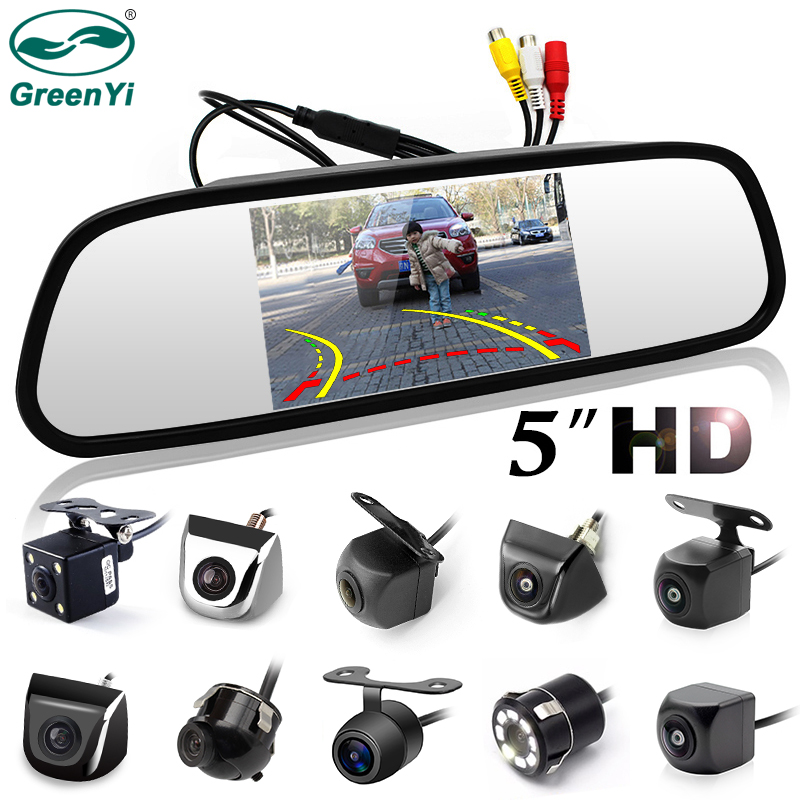 GreenYi 5 Inch Car Rearview Mirror With Monitor For 170 Angle Vehicle Rear View Camera HD Sony TFT LCD Parking System