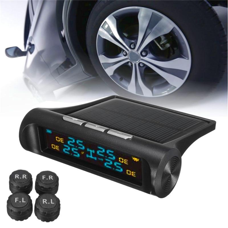 Solar font b TPMS b font Car Tire Pressure Monitoring System LCD Display 4 External Sensors
