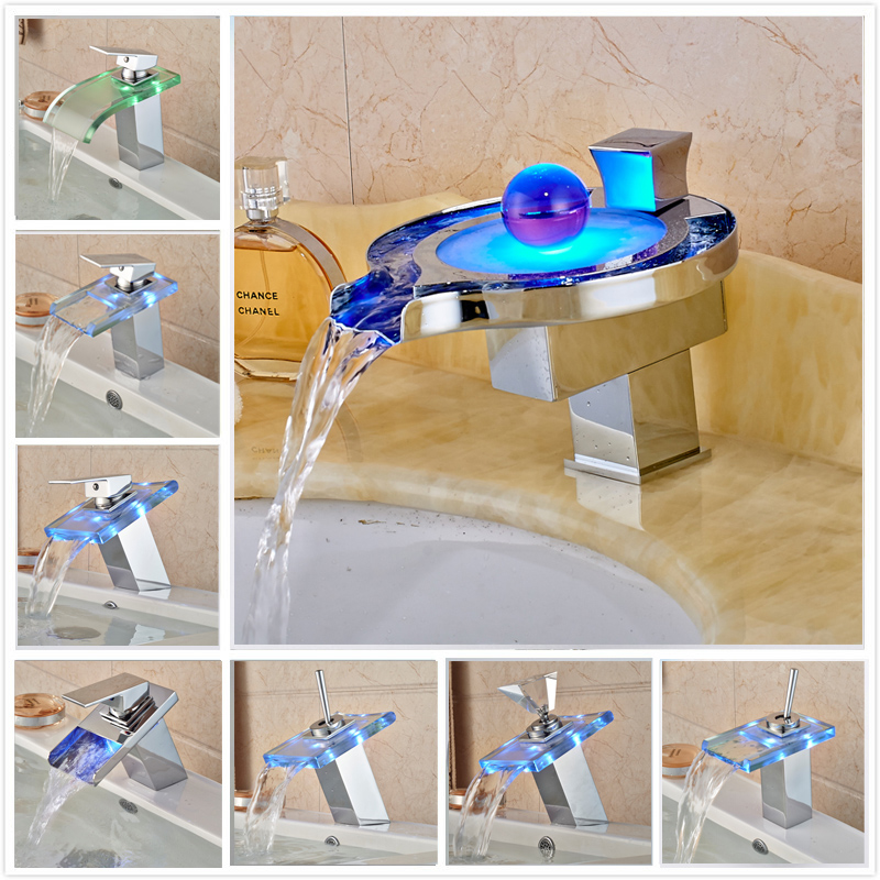Luxury LED Color Changing Waterfall Basin Sink Faucet Single Handle Deck Mounted Hot And Cold Mixer Taps