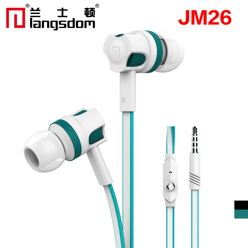 Original Langsdom JM26 In ear Earphone, stereo Headset HI-FI bass with micphone with noodles line For IOS&Android phone MP3 MP4