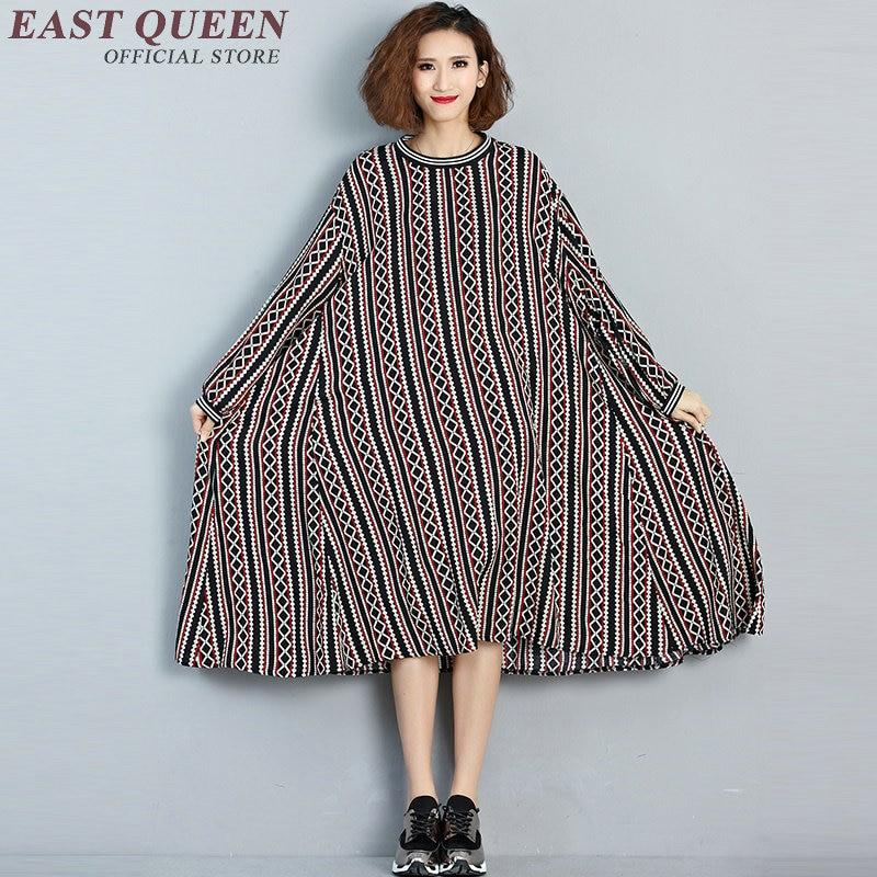 Boho style clothing big sizes women clothes women large size geometric patterns midi summer dress striped KK354 Q