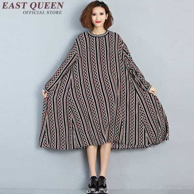 Boho Style Clothing Big Sizes Women Clothes Large Size Geometric Patterns Midi Summer Dress Striped