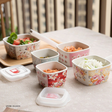 Home Rice Ceramic Bowl Soup Server Porcelain Bowls Lunch Cereal Soup Noodle Serving Bowl Japan Flower Style Dessert Serving