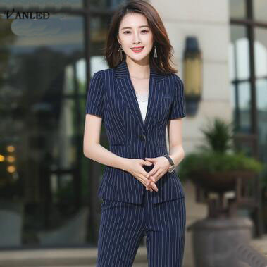VANLED 2017 New Office Uniform Designs Women Black Stripes Summer Women Elegant Women Casual Blazers Professional Uniforms Z101