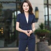 VANLED 2017 New Office Uniform Designs Women Black Stripes Summer Women Elegant Women Casual Blazers Professional