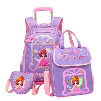3PCS/set girl trolley backpack Cartoon school bag kids 6-15 years students Detachable waterproof backpack travel luggage