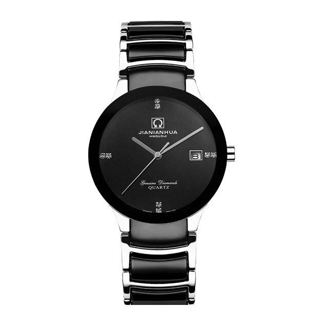 תאריך יוקרה גברים שעון עמיד למים קרמיקה ספיר שחור קרנבל קוורץ שעוני יד relogio masculino
