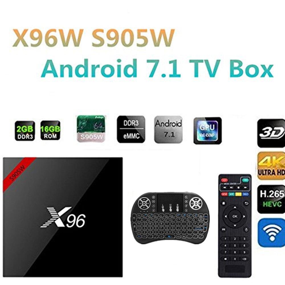 X96 X96W Android 7.1 TV Box WiFi S905W smart tv box android 2GB ram Quad Core Set-top Box tvbox 4K Media Player X 96 set-top box himedia m3 quad core android tv box home tv network player 3d 4k uhd set top box free shipping