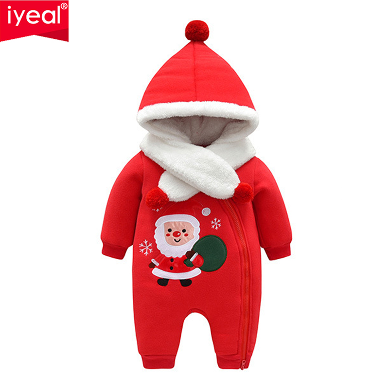 цена 2018 Newborn Rompers Winter Cotton Thick Warm Baby Boy Girl Clothes Christmas New Year Hooded Jumpsuit With Scarf Kids Outwear