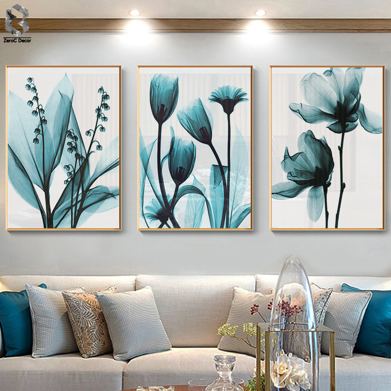 Nordic Canvas Painting Flowers Poster Blue Floral Wall Art Print For Vintage Living Room Decorative Wall Pictures