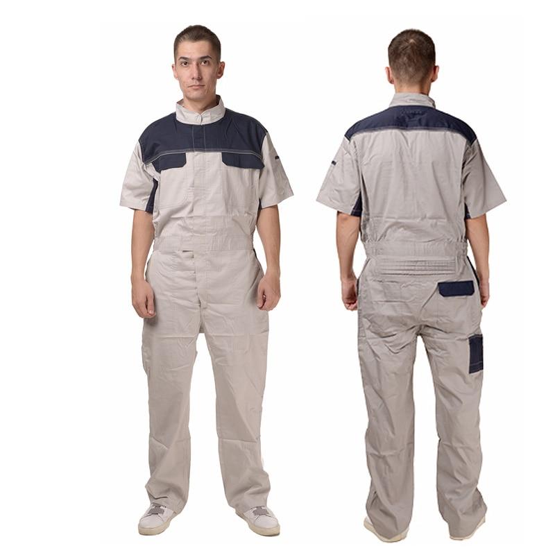 8cda83ac215b3 WORKWEAR Mens Short Sleeve Basic Blended Work Coveralls 100% cotton uniform  work suit