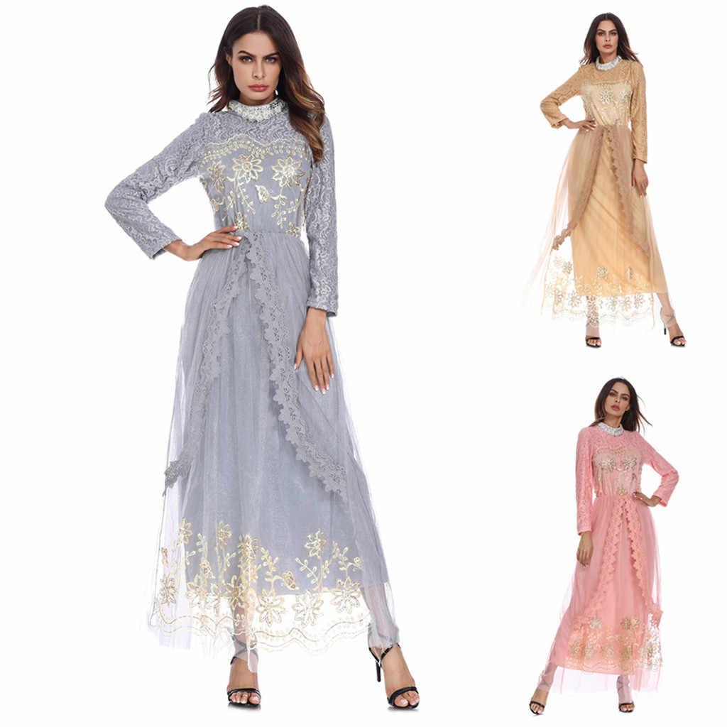 women dubai abayaTurkish Eid Mubarak Muslim Maxi Dress Trumpet Sleeve Abaya  Long Skirt Robe Gowns Tunic BeltY6