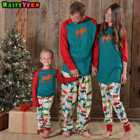 Christmas Family Matching Outfits Parents Kids Adult Baby Clothes Long Sleeve Elk Moose Pullover Pajamas Sleepwear